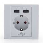 Cablexpert Ac Wall Socket With 2 Port Usb Charger White