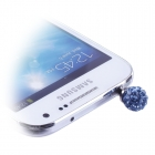 EARPHONE ANTI-DUST JACK PLUG 3.5mm DIAMOND BALL LIGHT BLUE