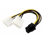 Cable Powertech PCI-E 6pin to 2x molex IDE 4pin 10cm