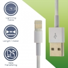 Cable Charger-Data Lightning USB 1m White