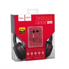 Headset Hoco Jack Stereo Black With Red+Earphones