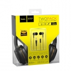 Headset Hoco Jack Stereo Black With Gold+Earphones