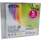 DVD-R TDK 16x Slim Case COLOR 5τεμ.